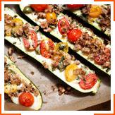 Лодочки из цукини с моцареллой и оливками