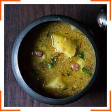 Картофельный суп с жареным миндалем