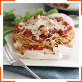 Запеканка из спагетти с помидорами, базиликом и рикоттой