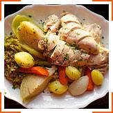 Фаршированная курица с овощами