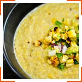 Густой кукурузный суп со сладким кукурузным гуакамоле