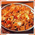 Фарфале с треской и острым томатным соусом