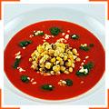 Суп из запеченного красного перца с кукурузой и кинзой