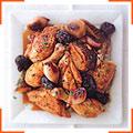 Курица с луком, черносливом и арманьяком