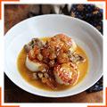 Жаренные морские гребешки с карамелизированными яблоками и куриной печенью