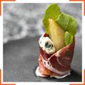 Глазуровані груші з сиром та шинкою