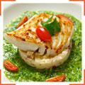 """Жареная рыба с зеленым соусом """"Гаспачо"""""""