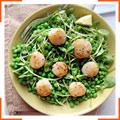 Жареные морские гребешки с зеленым горошком