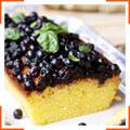 Лимонний пиріг з полентою і чорничним соусом