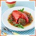 Фаршированный перец в томатном соусе с базиликом