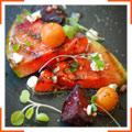 Салат с арбузом-гриль, помидорами черри и свеклой