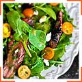 Салат со стейками из пашины, козьим сыром и помидорами